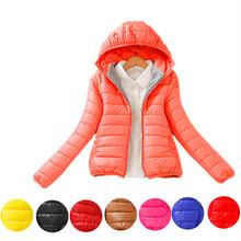 Manteau Femme 2015 New 2XL Winter Jacket Women Warm Ultra Light Down Cotton Jacket Candy Colored Hooded Short Jackets B998