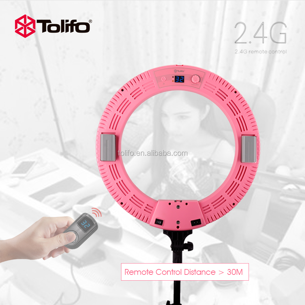 Tolifo R-48B 48W Bi-color 2.4G Wireless Remote Control Dimmable Camera/Studio/Video Photography Led Ring Light Lamp 3 colors