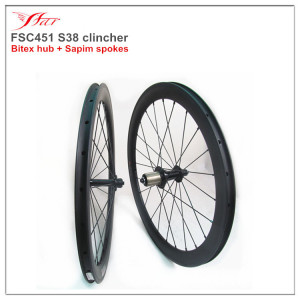 Children carbon wheelset 38mm deep 20.5mm wide clincher rims, carbon bicycle wheels 451 high temp braking with Bitex hub 20H/24H