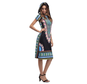 factory wholesale Good price lady Summer fashion casual plus size Holiday Hooded India printing women skirt Dresses