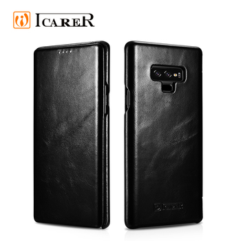 ICARER New Arrival Curved Edge Cover Vintage Leather Case for Samsung Note 9