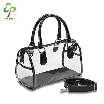 Larger Zippered Opening Fashion Clear Plastic Handbags Dual Carry Handles Handbag Transparent Bag
