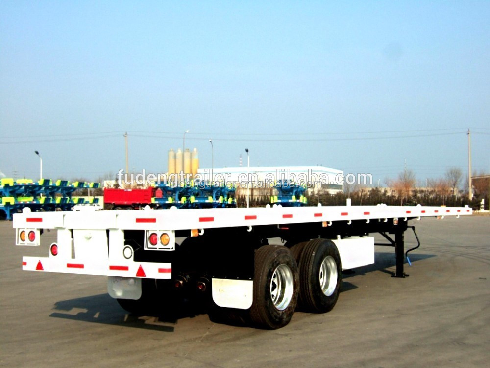 3 Axle Container Flatbed Trailer 40ft Semi 20ft Truck Dimensions