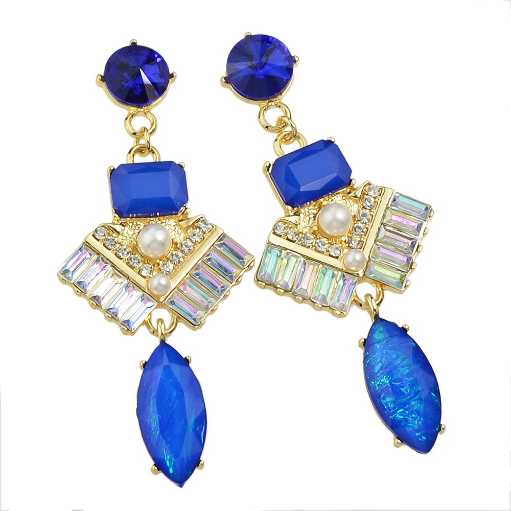 New Spring Color Jewelry Gold With Pink Blue Rhinestone Geometric Drop  Earrings For Women