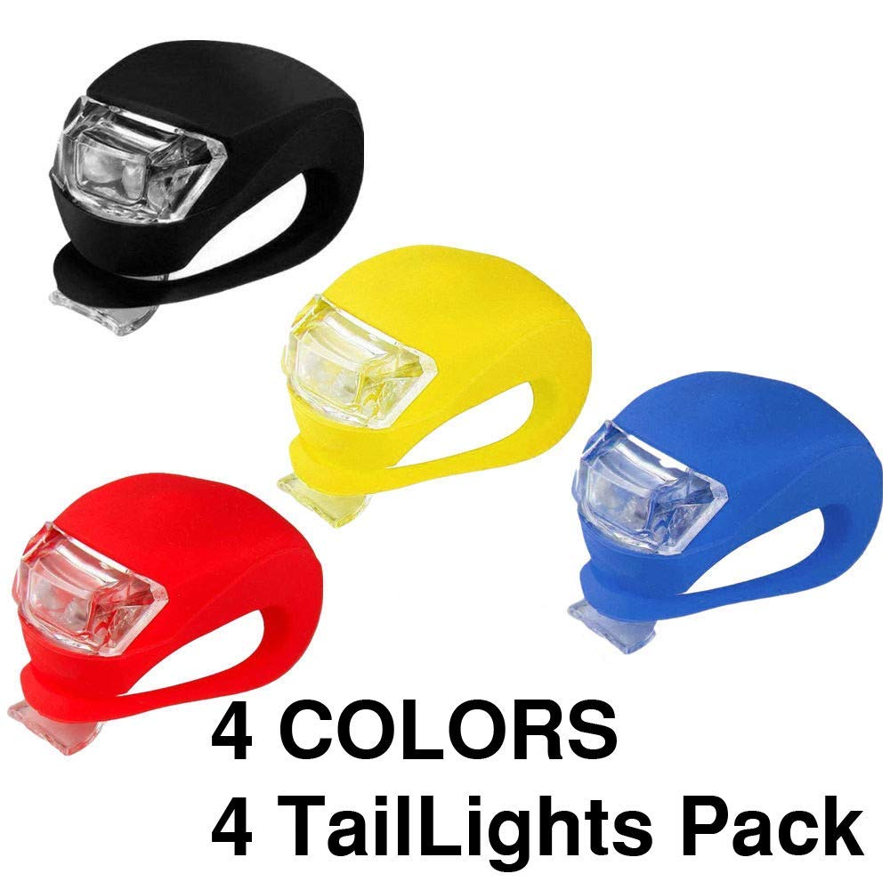 O RLY Tail Light Bicycle Silicone LED Set Head Front Rear Wheel Bike Rear Tail Warning Safety Light Red/White/Amber/Blue