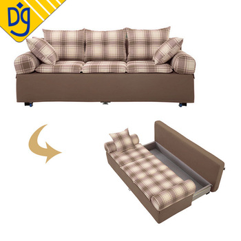 Designer Plaid Long Sleeper Futon Sofa Bed With Storage