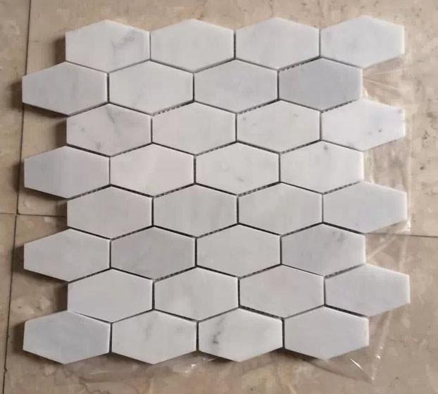 Honingraat zeshoek wit marmer tegel mozaïek mozaïeken product id ...