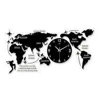 Creative Interesting World Map Clear Acrylic Wall Clock Modern Design Hotel Decor Wall Art