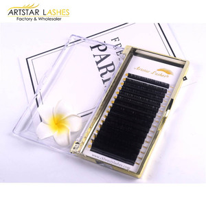 New private label eyelashes 0.15mm Ellipse Flat Double Tips Individual Lashes With Forked Tip Silk Mink Eyelash Extension