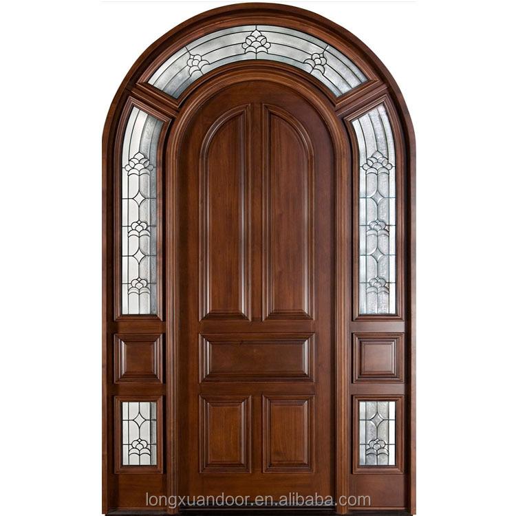 Arco de madera maciza puerta doble puerta de vidrio de for Puertas de madera para entrada principal de casa