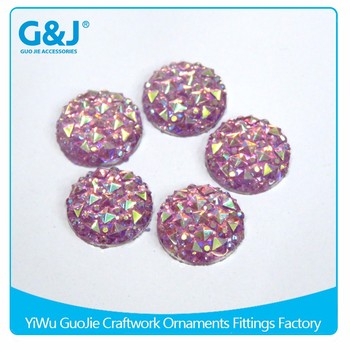 guojie brand best quality Purple acrylic crystal AB Color Round Shape Resin Stone For Clothing Accessory