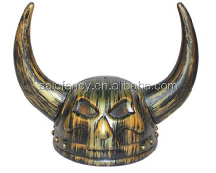 Adult Viking Warrior Horns Plastic Headgear Helmet Costume Accessory Party