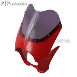 Pazoma High Quality Plastic Universal 6 Inch Red Aftermarket Motorcycle Headlight Fairings For Cafe Racer
