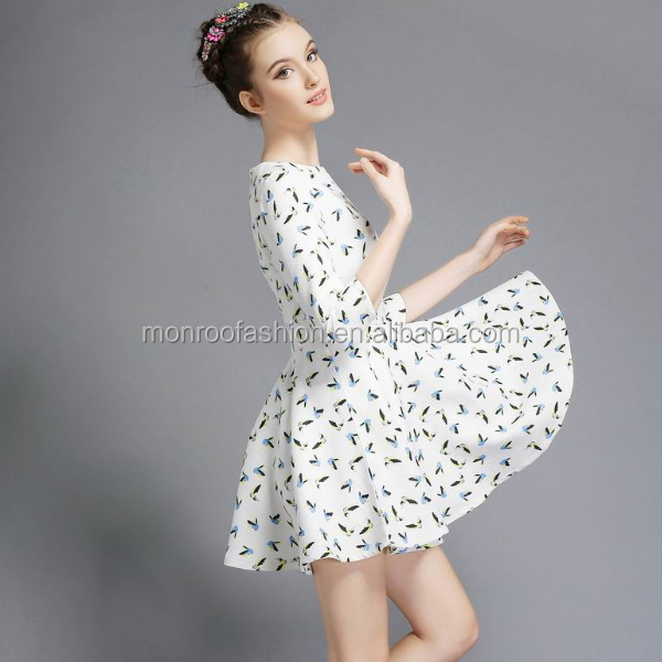 monroo white birds printing summer european style women dress elegant