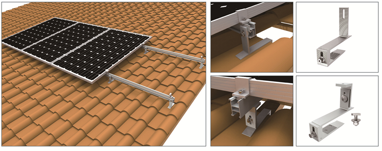 Hot Selling High Efficient Roman Tile Roof Solar Racking ...