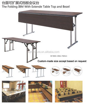 Stainless Steel Folding IBM Rectangular Conference Table With Extended Table  Top LQ T003