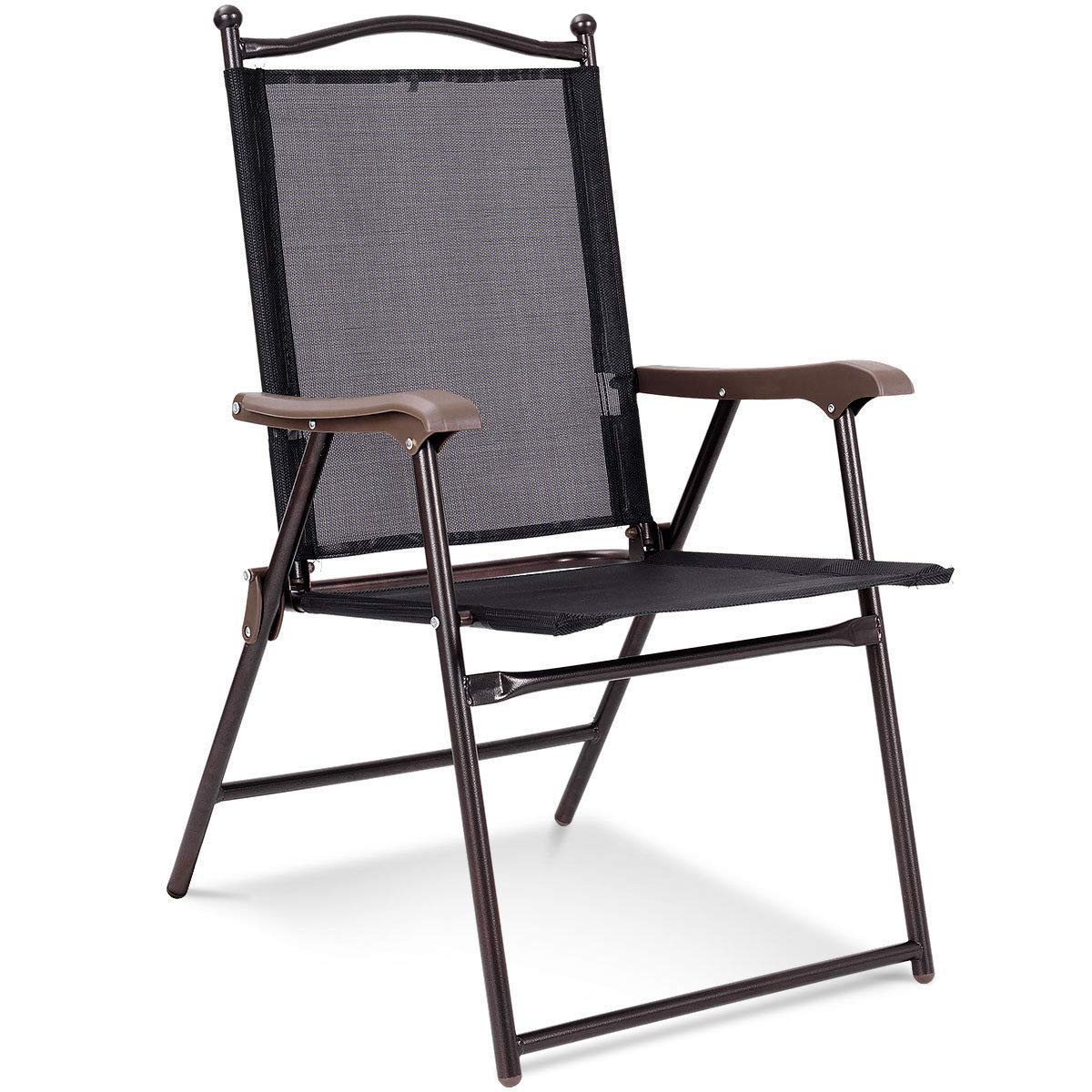 KCHEX>Set of 2 Patio Folding Sling Back Chairs Camping Deck Garden Pool Beach Black>This is Our Folding Chair which is a Perfect Choice for Your Home,Yard. Made of Steel Frame.