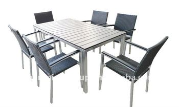 Aluminum Frame Outdoor Furniture Dining Table And Chair With Stainless Stell Finish Steel