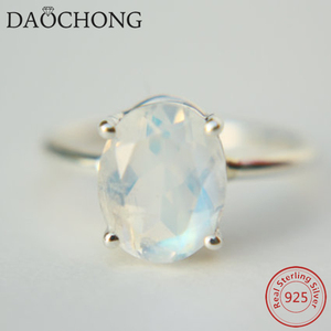 925 Sterling Silver Oval Moonstone Engagement Ring