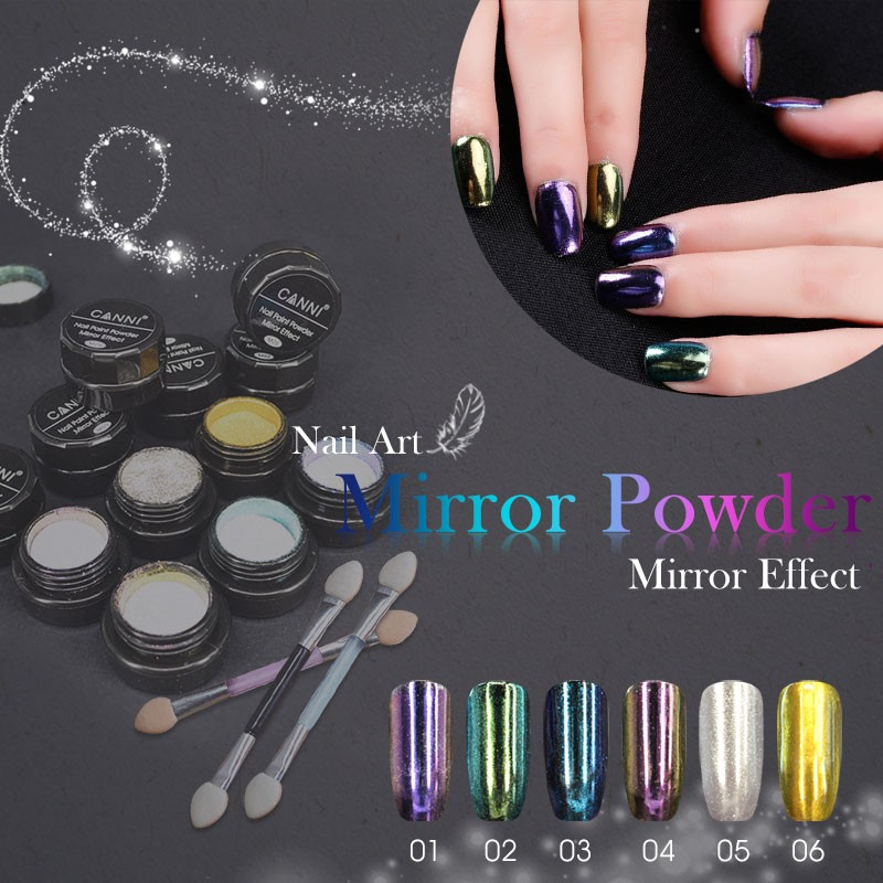 61603c Canni Mirror Powder Gold Silver Pigment Nail Paint Powder ...