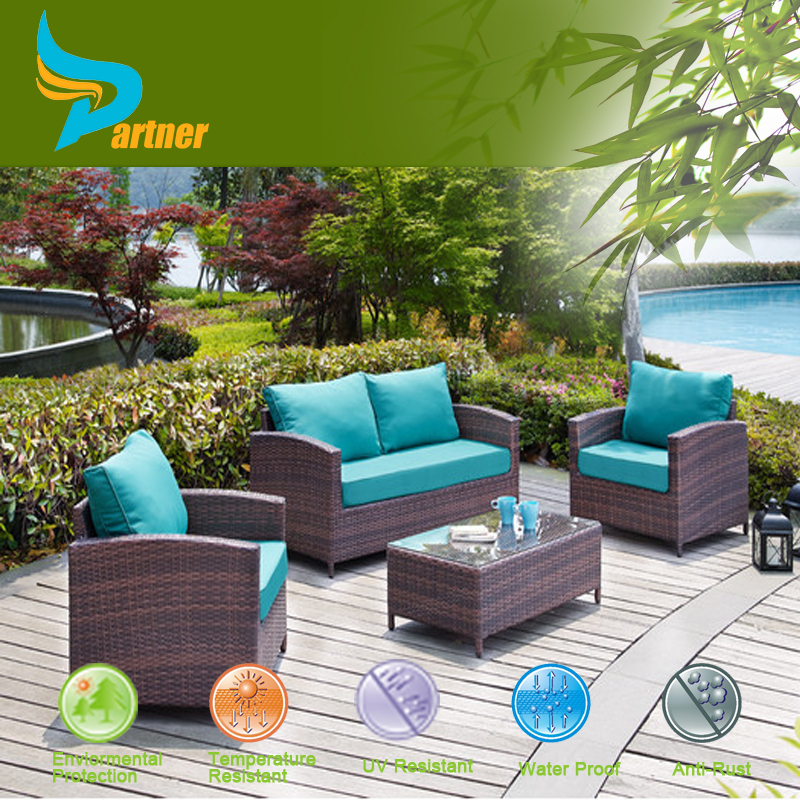 4 Piece Aluminium Rattan Cane Furniture Deep Seating Group with Cushions Stylish Popular Garden Furniture