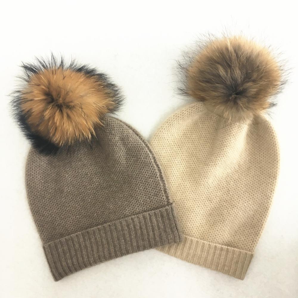 2fd5d01fb8a34 IMF Custom Womens Knit Pure Cashmere Pom pom Winter Beanie Hats with Pom