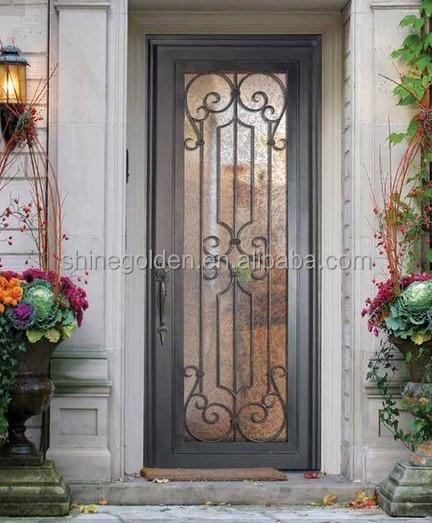 Elegante entrada principal puerta de madera con vidrio gyd for Puertas de entrada con vidrio