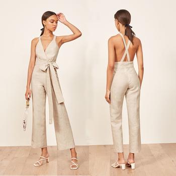 e76a682641aa41 Wholesaler Cross Striped 100% Linen Clothing Women Bodycon Jumpsuit ...