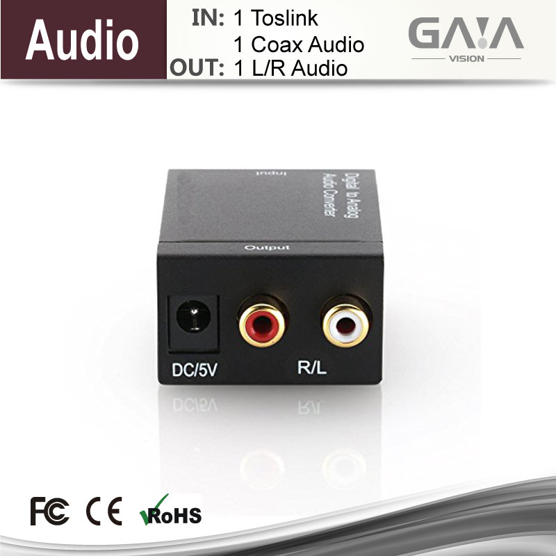 GAIA Digital to Analog audio HDMI converter adapter cable convert Coacial or TOSLINK to L/R audio