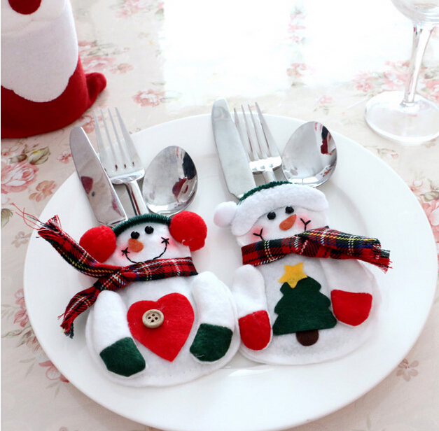 120pcs/lot Christmas Decoration Supplies for Home Christmas Snowman Srtyle Christmas Candy Fork Knife Bag Christmas Ornaments
