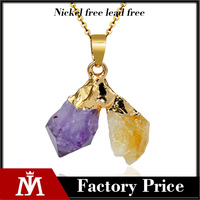 Women's Natural stone jewelry Druzy Quartz Purple Yellow Crystal Pendant