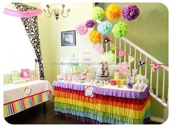 Rainbow Theme Birthday Party Ideas Tissue Paper Poms Centerpieces