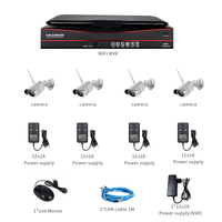 All in one with Monitor Wireless Security Camera System 4pcs 960P Indoor Outdoor Bullet IP Camera P2P IR Night Vision Waterproof