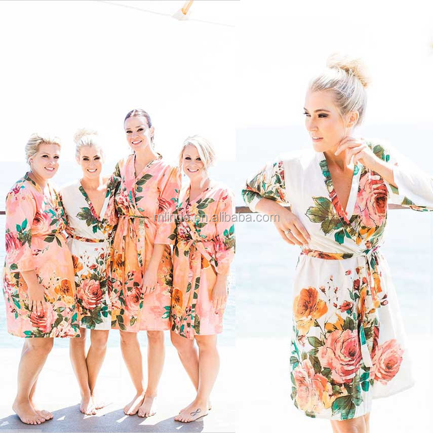 Kimono Robes Coral Large Floral Blossom Bridesmaids Robe Sets Bridesmaids gifts Bridal Party Robes Dressing Gowns
