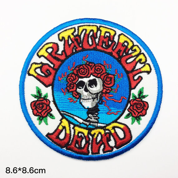 "3.5 ""banda de Tamanho Personalizado Bordado remendos patches Bordados do Grateful Dead rock clássico"