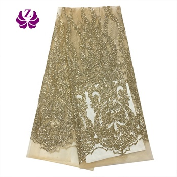 2019New Fashion Elegant Guangdong Self Manufactured Mesh Flower Pattern Shiny Sequined Tulle Lace Fabric for Fashion Daily
