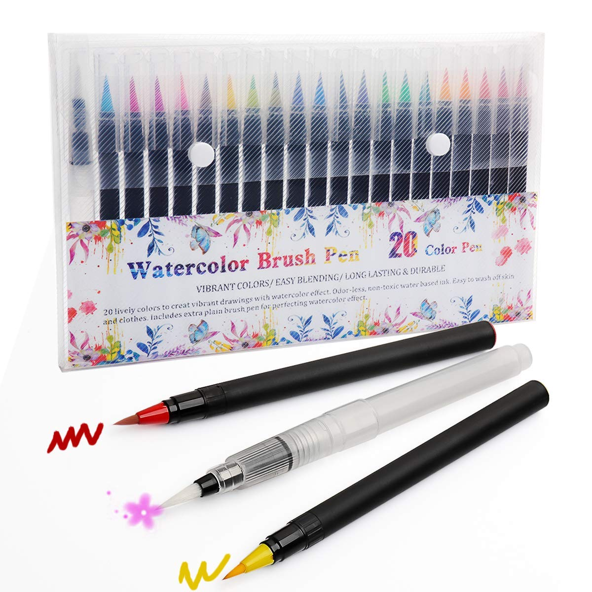 Watercolor Brush Pens - 20 Colors Marker Brushes & 1 Refillable Water Brush for Kids Adult Coloring Books, Manga, Comic, Calligraphy - Soft Flexible Tip Markers
