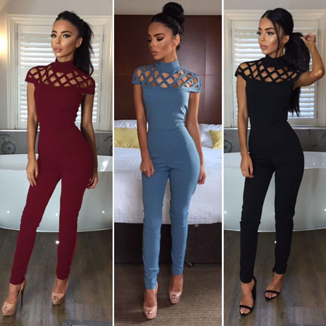 0a99e74df594 Wholesale- Fashion Women Jumpsuit Ladies Bodycon Slim Skinny Solid ...