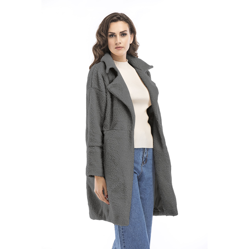 2017 latest high quality Ladies Winter warm lapel zipper up oversize long trench wool fleece cashmere coat women