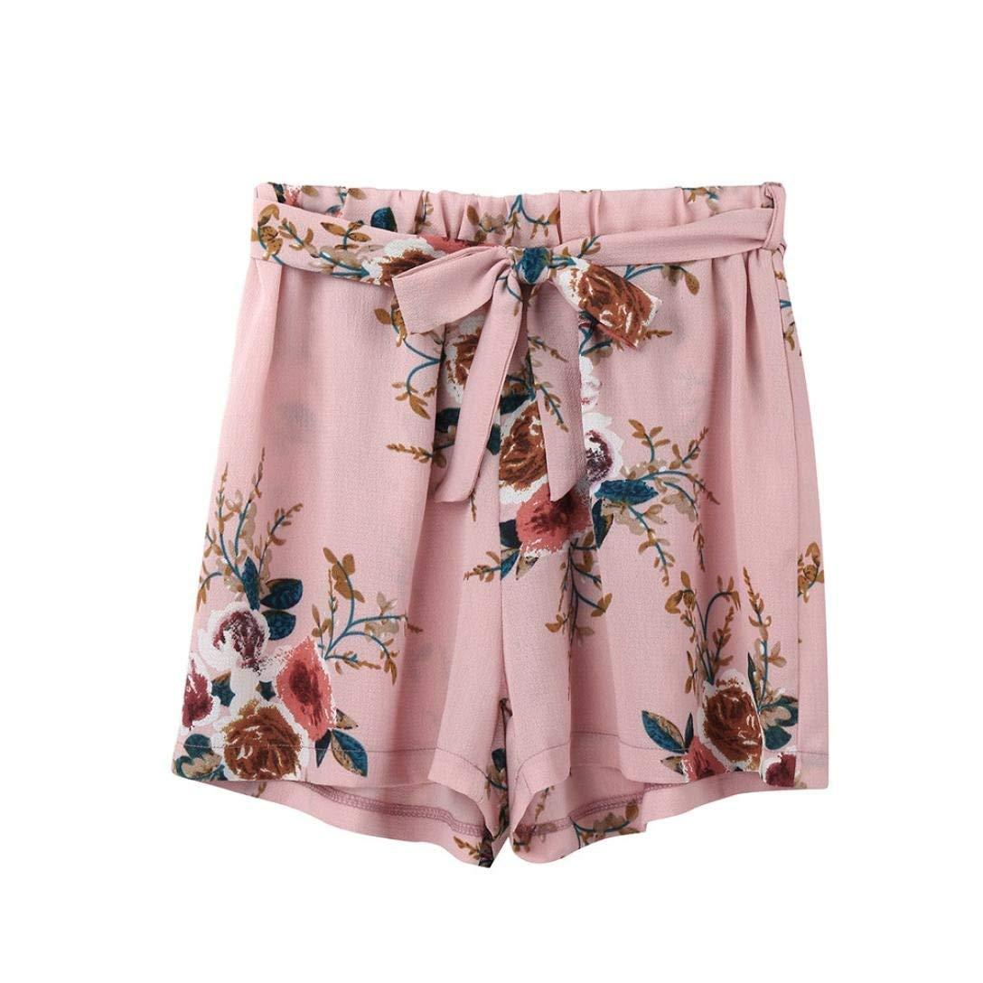 Clearance!Women Shorts, Women Print Casual Belt Loose Hot Pants Lady Summer Beach Shorts