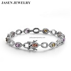 JASEN JEWELRY fancy women bracelets fashion silver 925 color diamond bracelets
