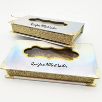 Custom Handmade High Quality Fashion Laser Paper Private Label Luxury False Eyelash Packaging Box with golden metal corners