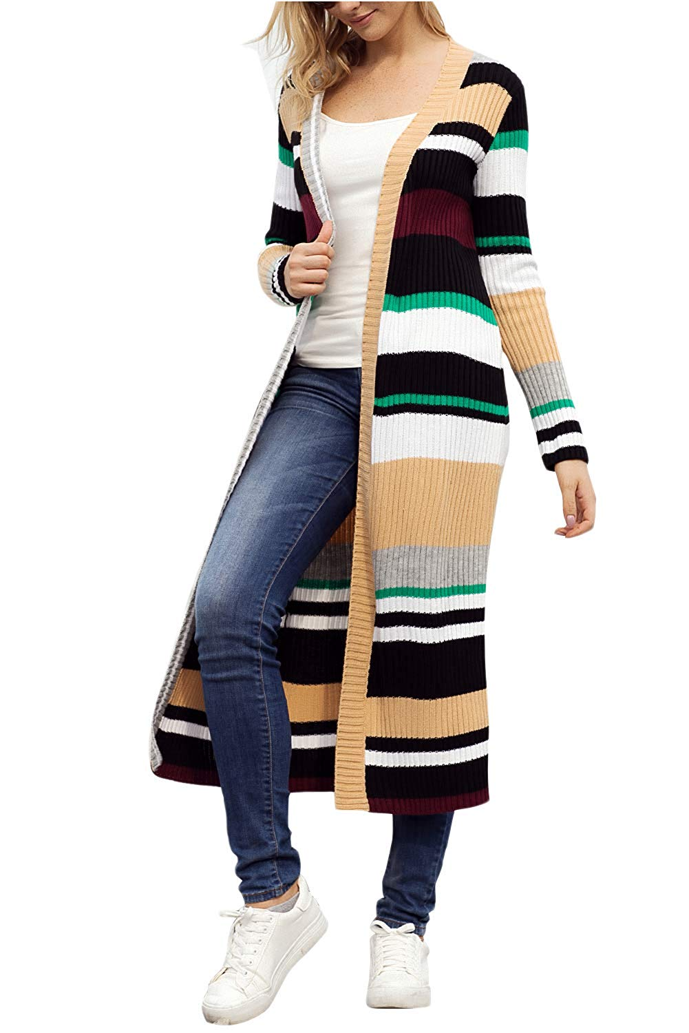 281084b7c5 Get Quotations · CILKOO Womens Colorful Striped Open Front Chunky Long Cardigan  Sweater(S-XXL)