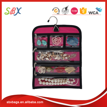 Amazon Hot Sales 6 Zippered Pockets Hanging Travel Jewelry Roll Up