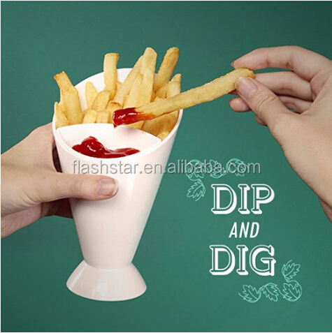 ABS Material French Fries Cone with Built-in Dipping Cups for Potato Fries, Veggies, Pretzels, Bread Stick, Finger Foods, 6.6 x