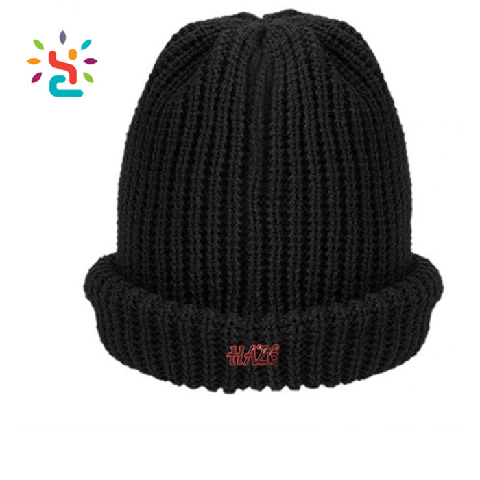 Wholesale winter cuff beanie cap custom different types black plain beanie  straight needle knitted hat patterns hats knitting 8792f2c0759