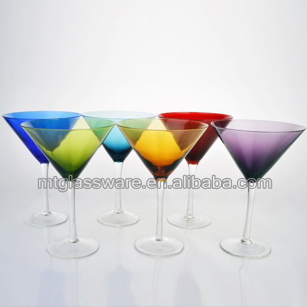 fancy colorful handblown martini glass cup cocktail glassware