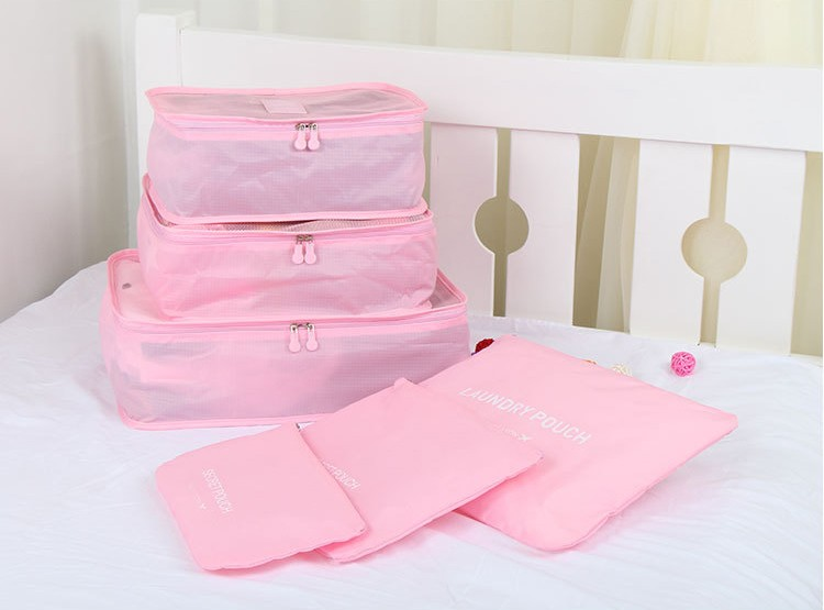 6pcs meshTravel Bag Set for clothes storage bags