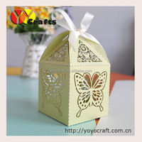 butterflies candy box wholesale price baby shower favors box wedding supply laser cut green wedding favour box