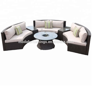 6PC Latest Design Poolside Rattan Patio Wicker Sofa Half Moon Circle Outdoor Furniture Garden Set